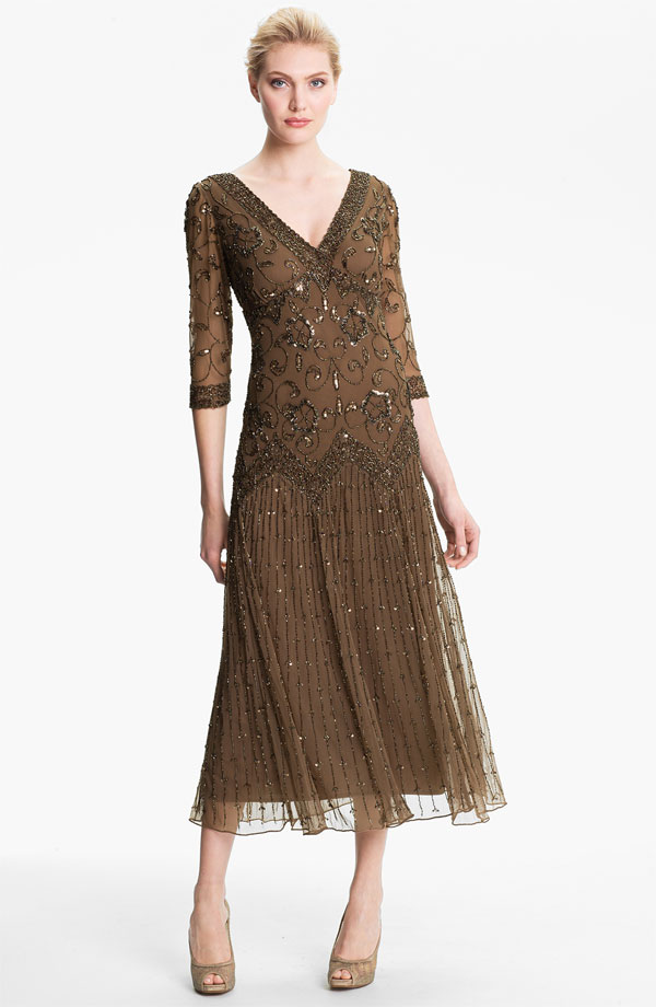 Pisarro Nights Beaded Mesh Dress | Pisarro Nights Dresses