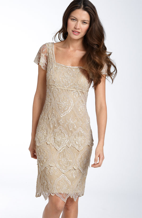 Pisarro Nights Beaded Tiered Shift Dress Champagne | Pisarro Nights ...