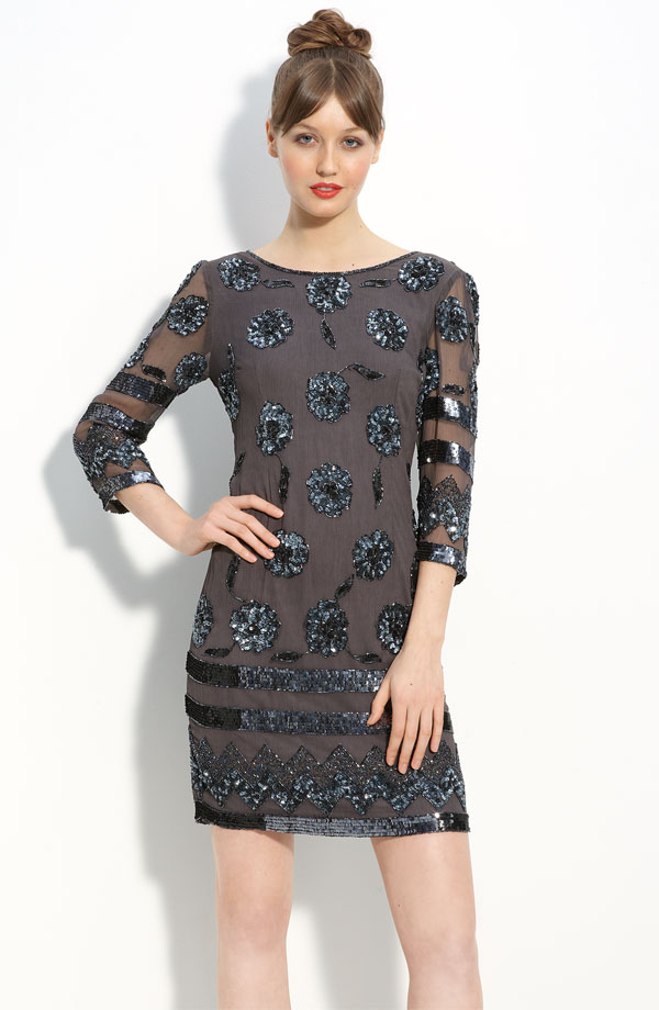 Pisarro Nights Sequin Pattern Sheath Dress