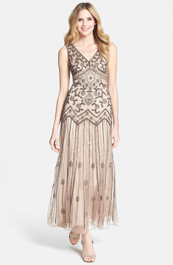 Pisarro Nights V Neck Beaded Sequin Gown