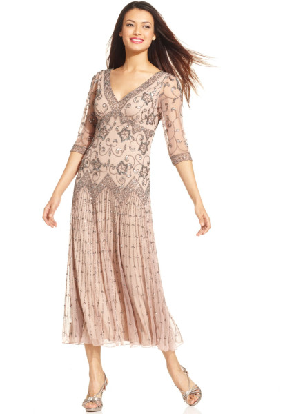 Pisarro Nights Three Quarter Sleeve Beaded Gown